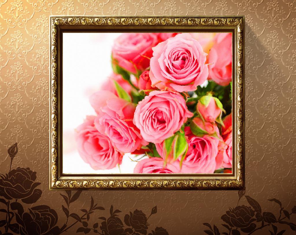 玫瑰花油画模板下载 11735392 油画 背景墙图片