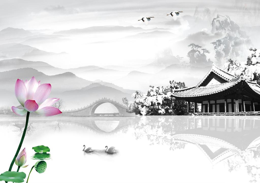 水墨江南风景电视背景图片