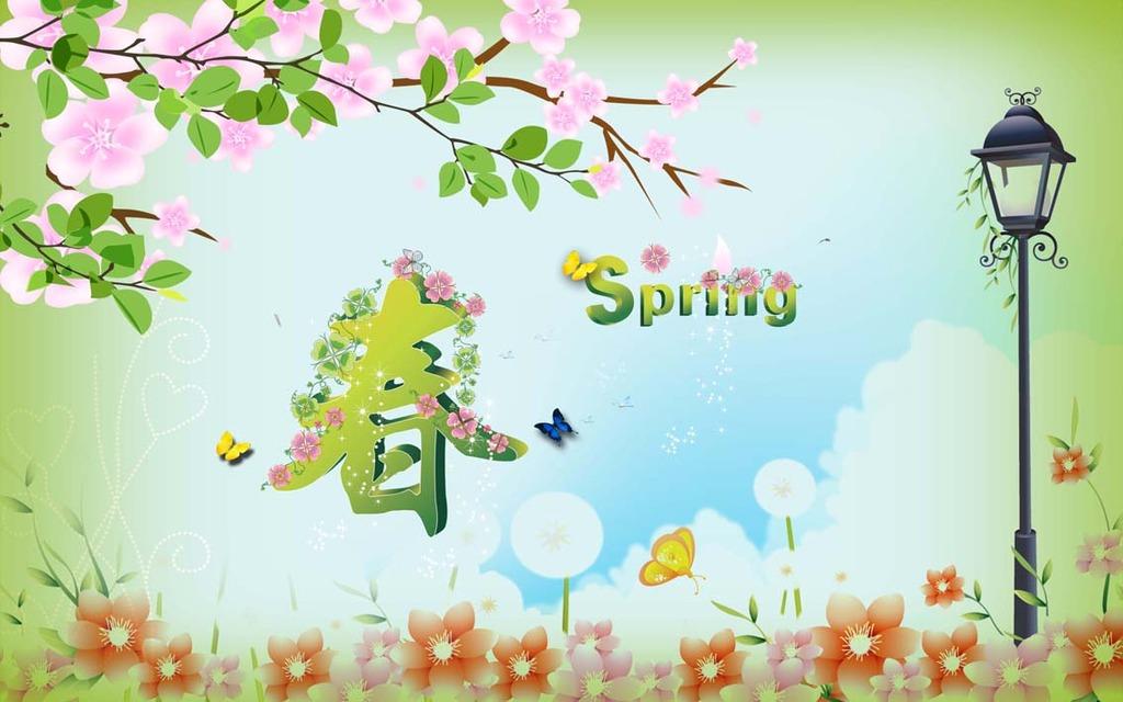 背景墙 自然风景 桃花 花朵 大自然 蓝天 灯 手绘 春 春意 绿色 树叶
