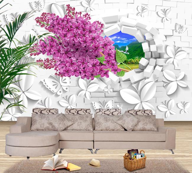 3d立体创意蝴蝶背景墙模板下载