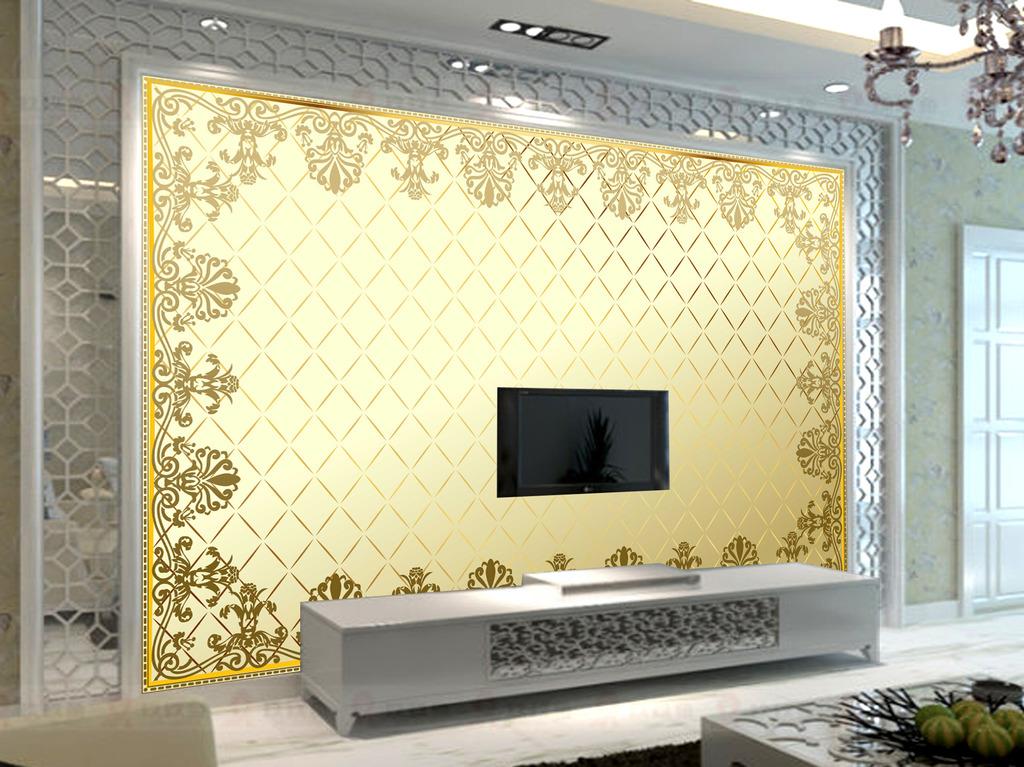 背景墙|装饰画 电视背景墙 欧式电视背景墙 > 欧式花纹土豪金墙纸壁纸图片