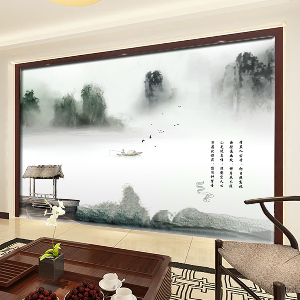 中国风山水风景意境电视背景墙