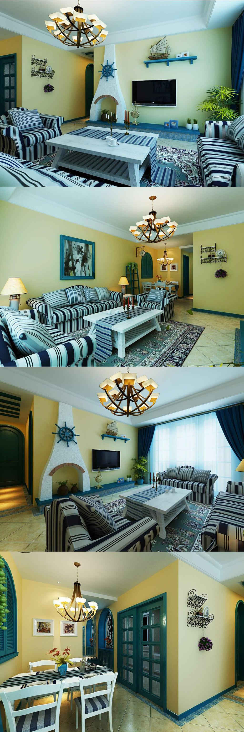 背景墙|装饰画 其他 室内设计 > 地中海家装客厅餐厅室内 材质 灯光