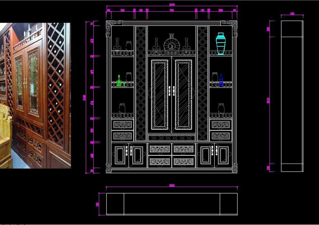 cad实木酒柜模板下载(图片编号:11744167)_室内设计
