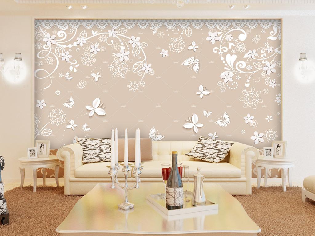 欧式花纹3d小花蝴蝶电视背景墙图片