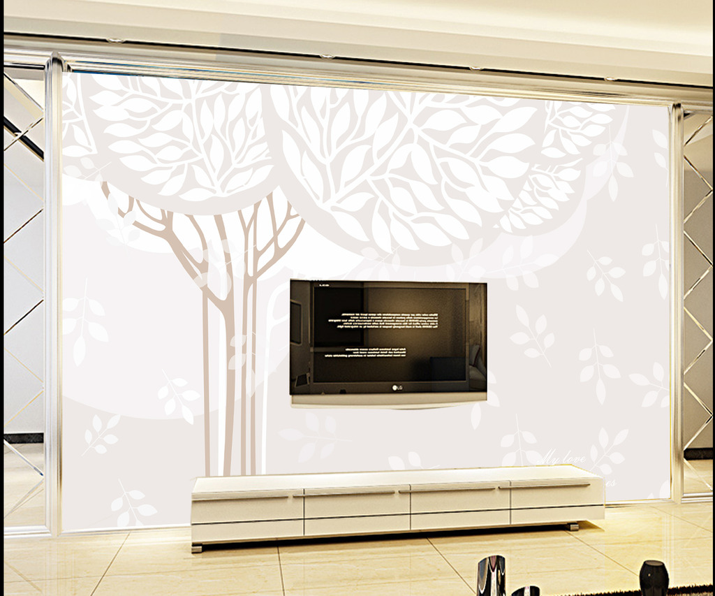 梦幻抽象树林电视背景墙模板下载