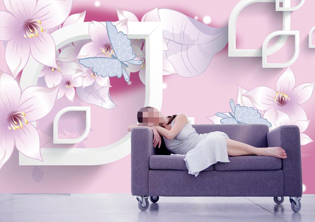 背景墙 风格/时尚淡雅花卉3D风格背景墙