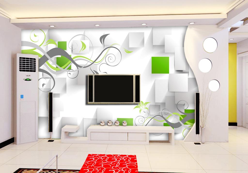 客厅3d方框电视背景墙装饰画