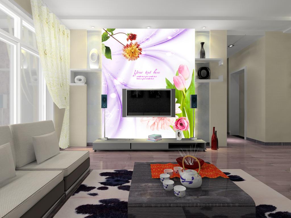 素材 背景墙 电视 赤峰市/唯美淡雅鲜花电视背景墙