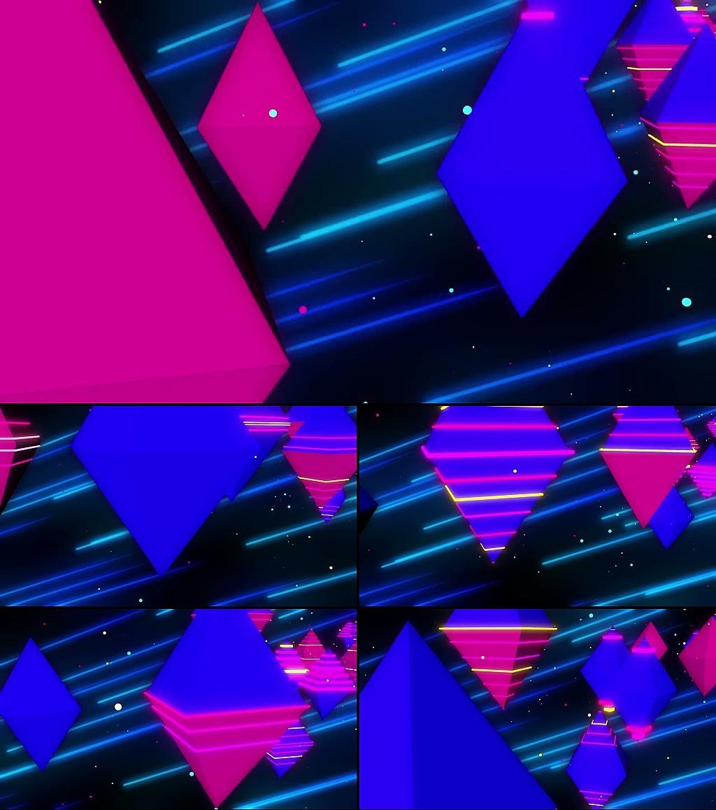 几何图形星空漂浮