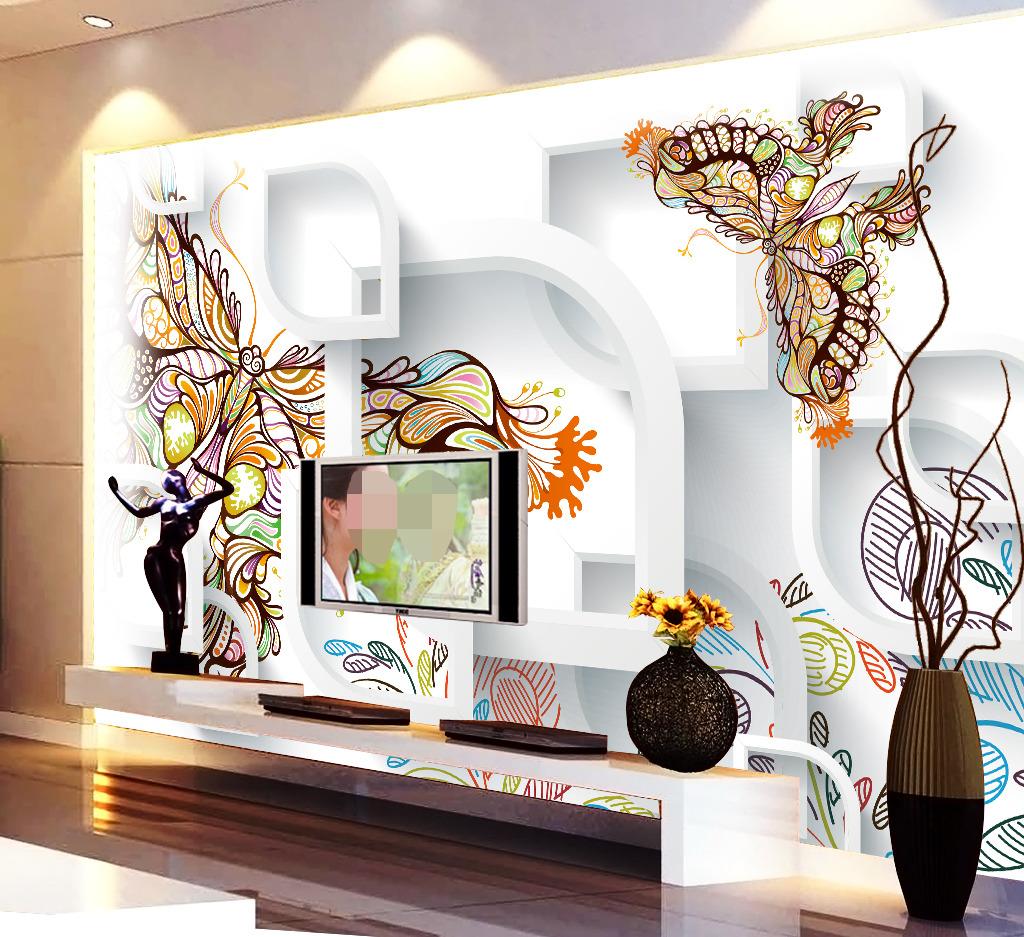 时尚手绘3d立体图形背景墙