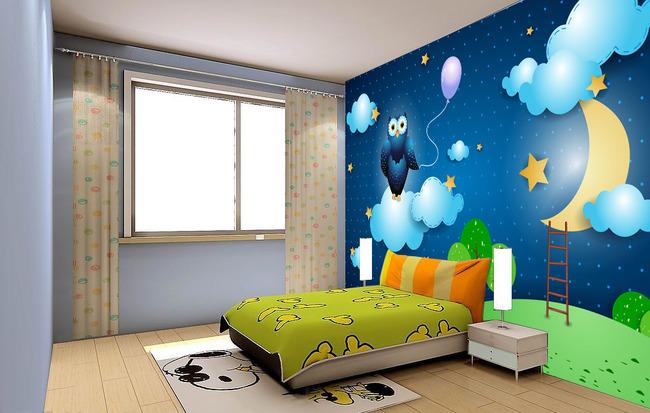 卡通儿童房床头背景墙壁画