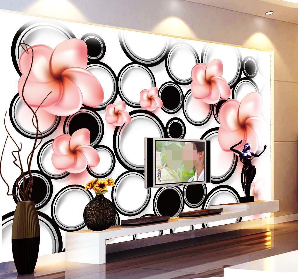 黑白3d立体圆形时尚花卉背景墙电视墙