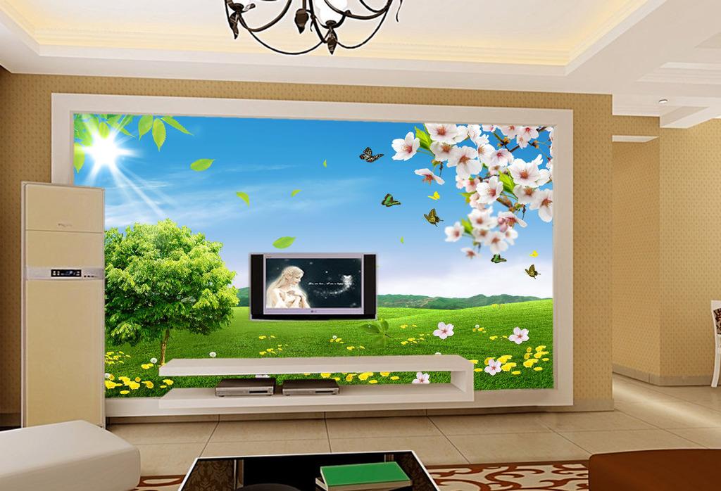 春天美景客厅电视背景墙