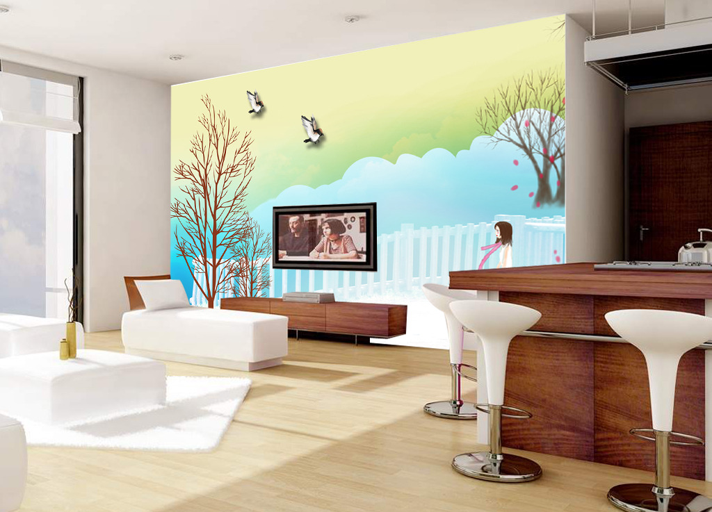 现代风格电视墙画