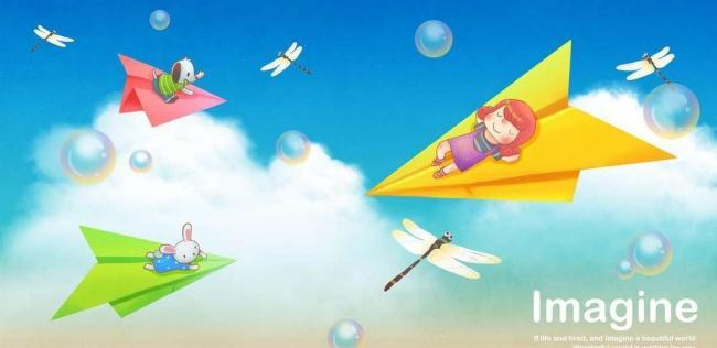小孩和纸飞机图片