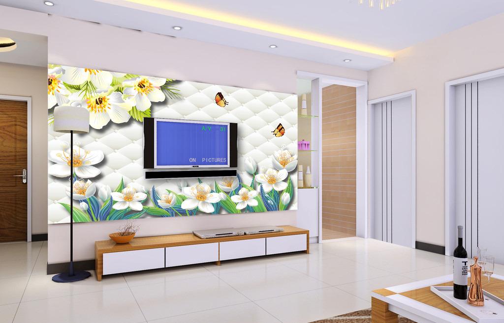 温馨玉兰花电视背景墙装饰画模板下载(图片编号:)_墙