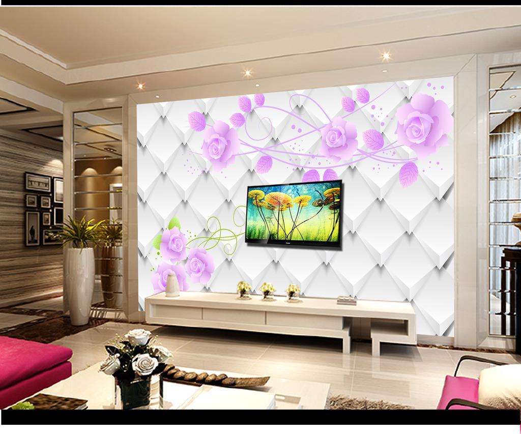 3d立体玫瑰电视背景墙壁画壁纸模板