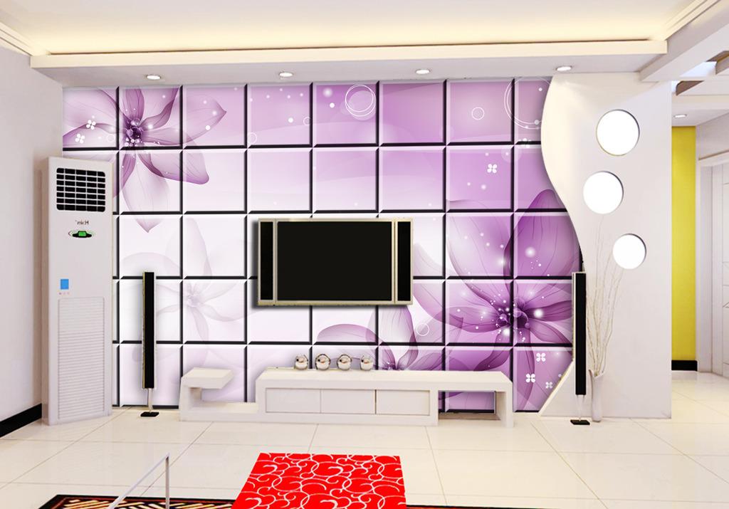 时尚3d背景墙软包电视墙效果图2017-时尚3d背景墙