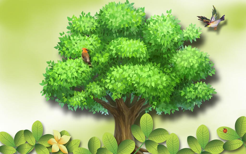 绿色盆栽壁纸手绘