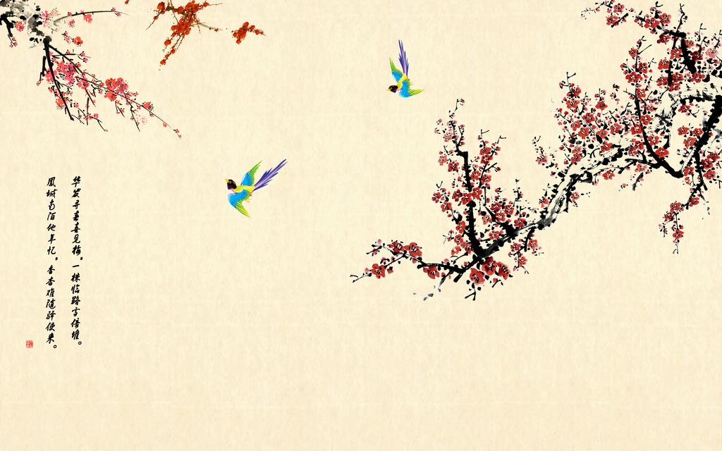 中式梅花电视背景墙壁画图片