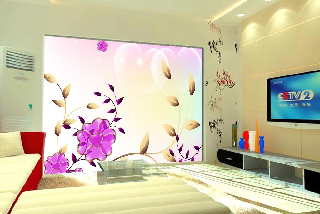 现代创意唯美花朵电视背景墙图片