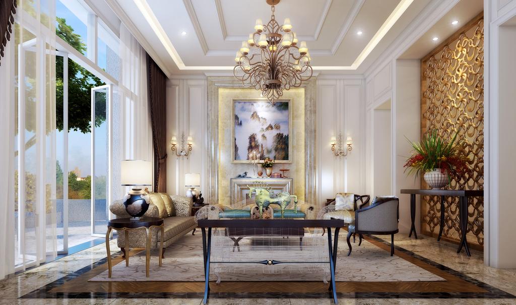 欧式家装客厅3d模型材质模板下载