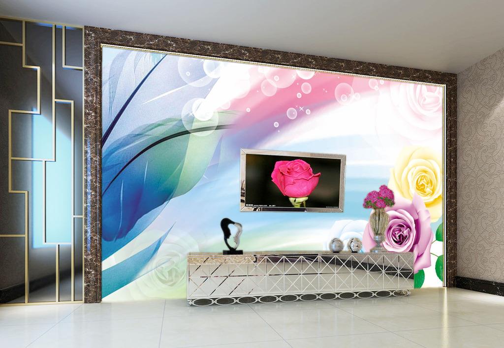 幻丽彩色客厅电视背景墙