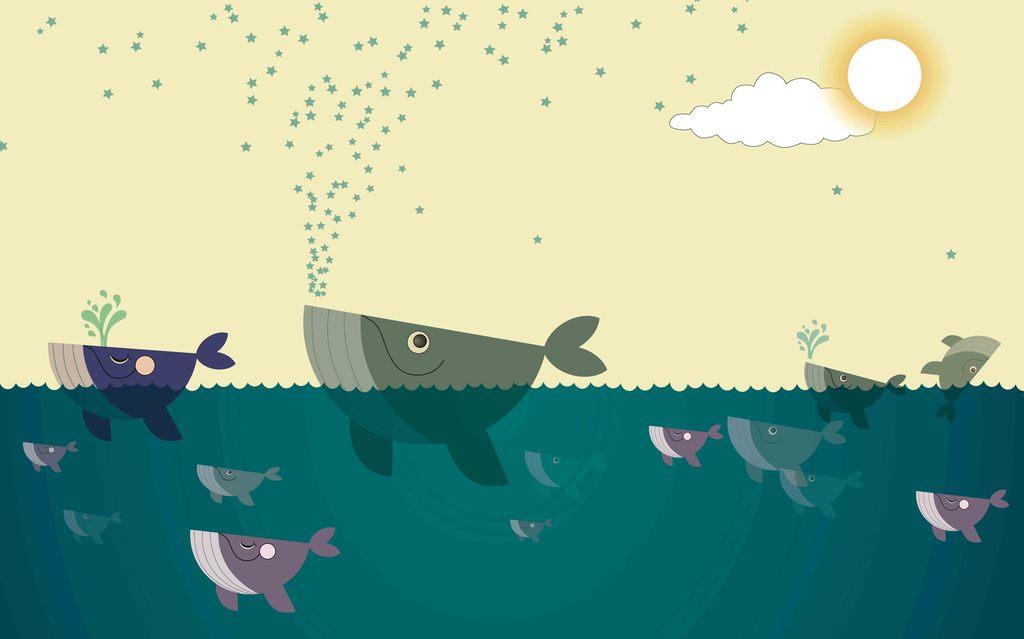海底世界儿童插画电视背景墙画素材