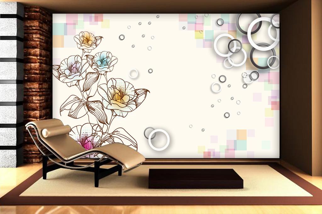 客厅手绘百合花3d圆圈时尚电视背景墙