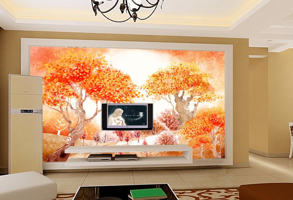 秋天风景客厅电视背景墙