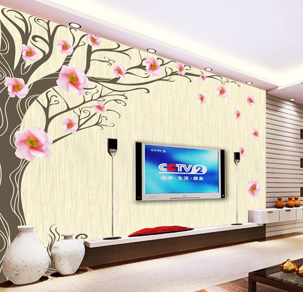 手绘树淡雅花朵电视背景墙