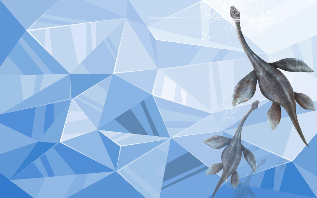 3d极简风光菱格蓝色恐龙电视背景墙图片