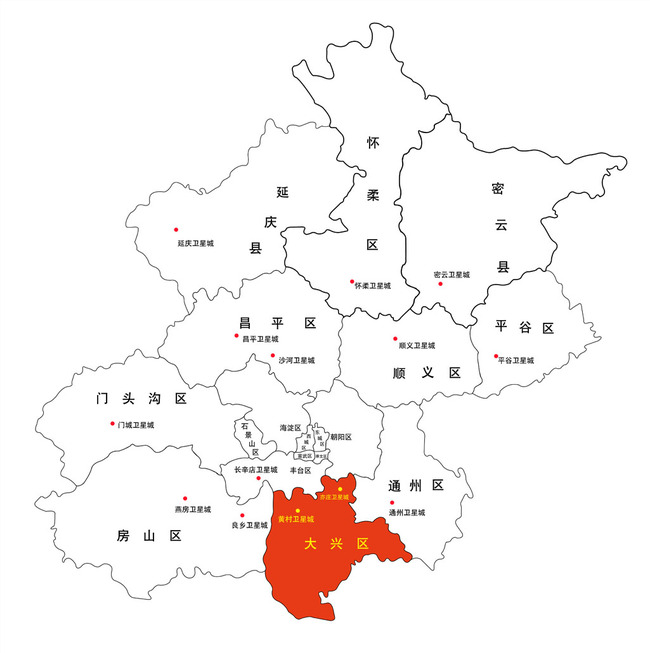 北京矢量行政区划分地图