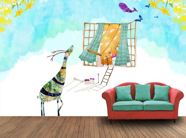 卡通手绘小鹿窗户背景墙