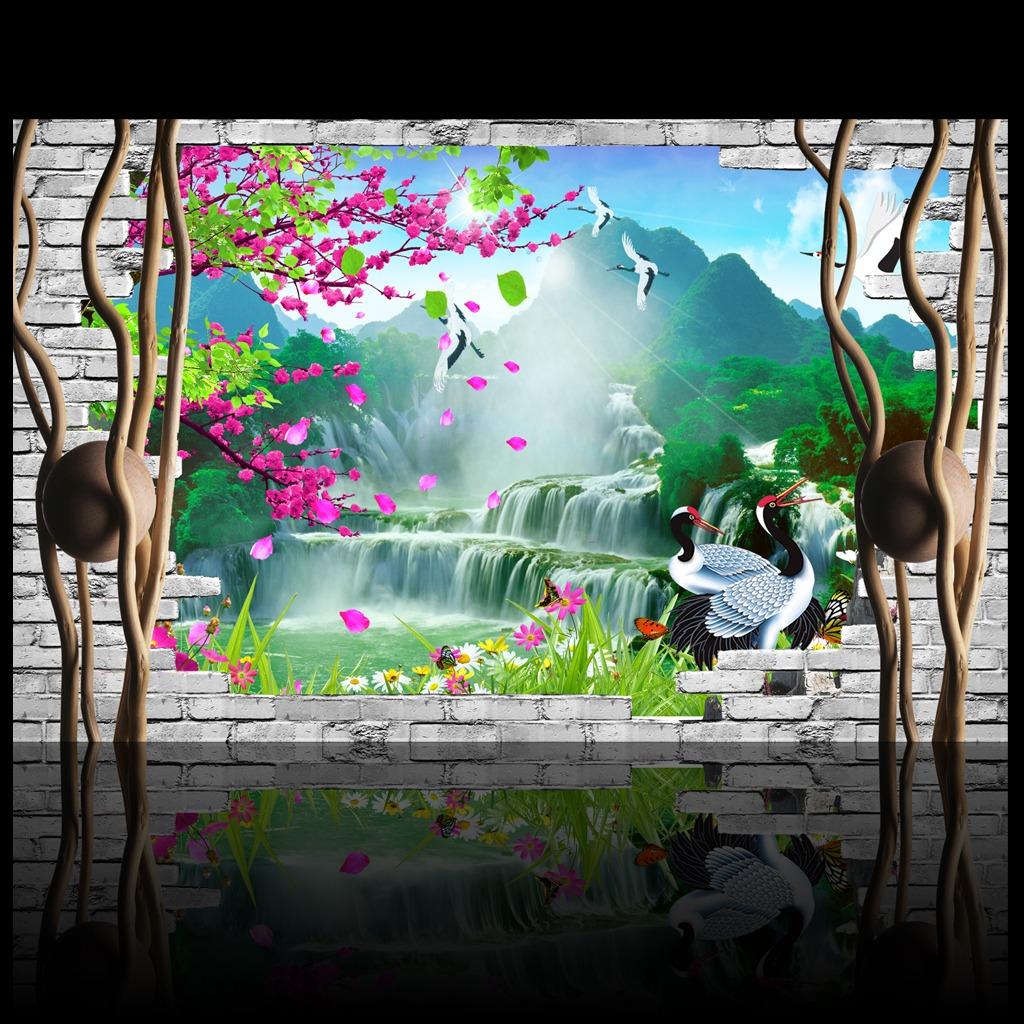 3d立体山水风景画背景墙装饰画
