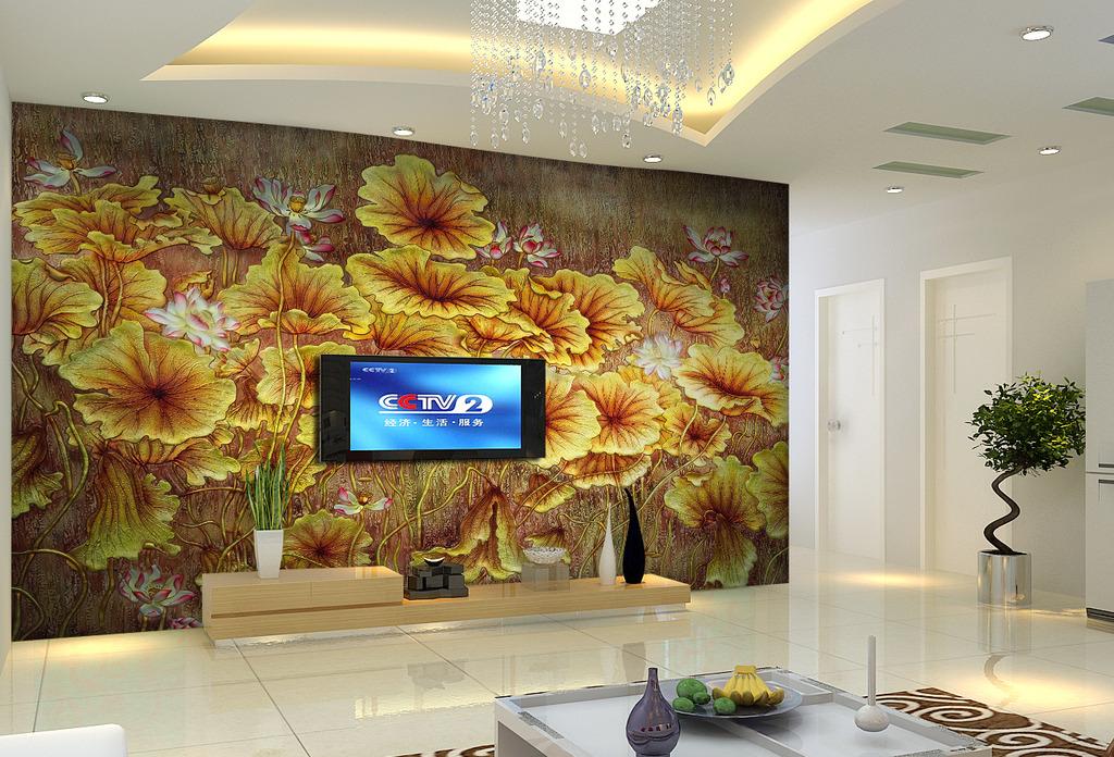3d荷花电视背景墙软包形象墙装饰画