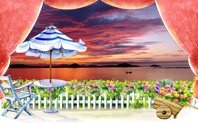 3d水彩手绘花园夕阳背景画