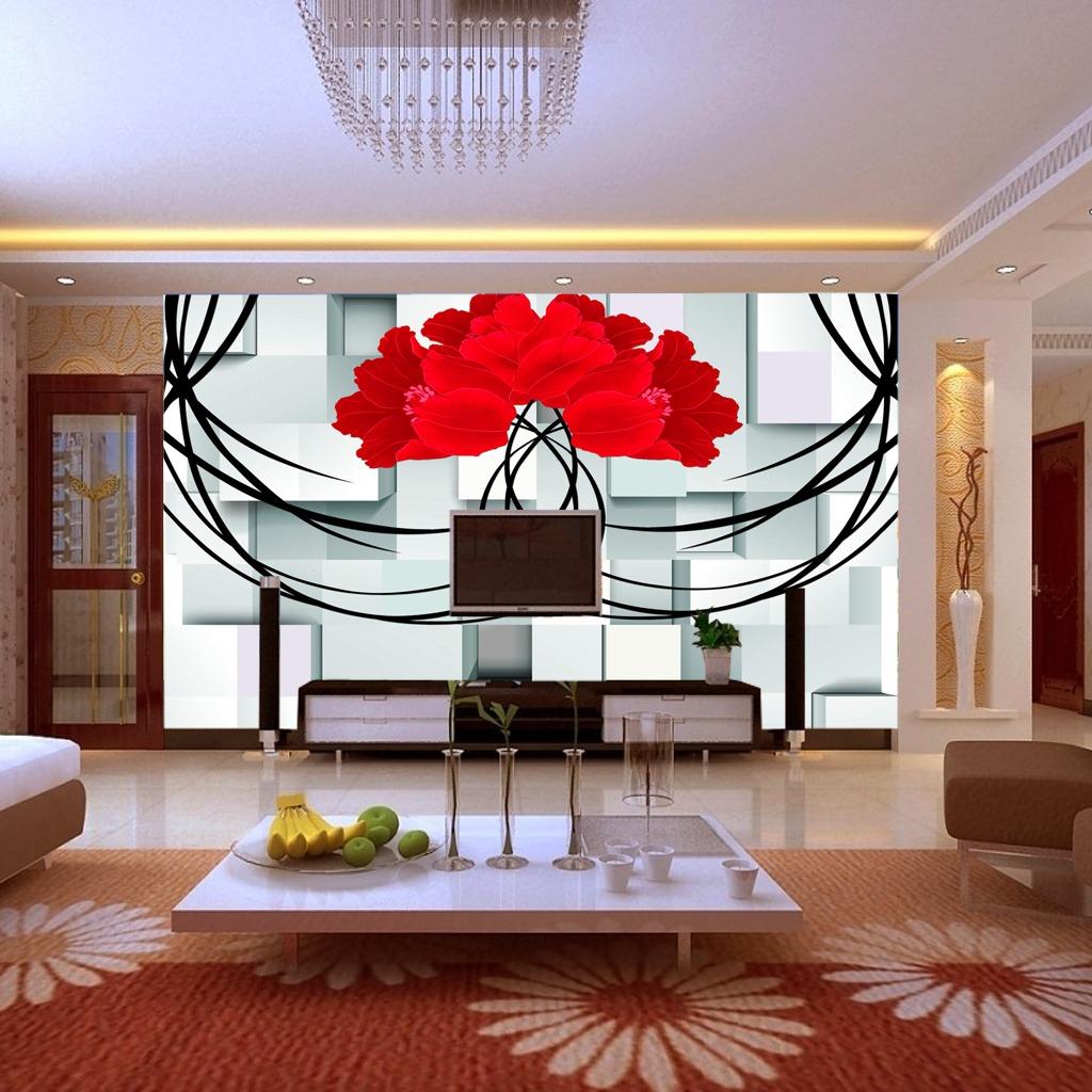 客厅玫瑰3d方块电视背景墙模板