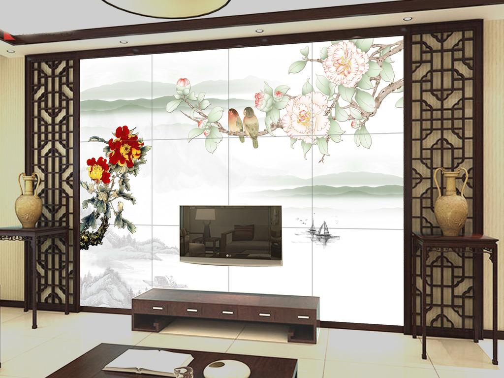 花开富贵中式客厅电视背景墙