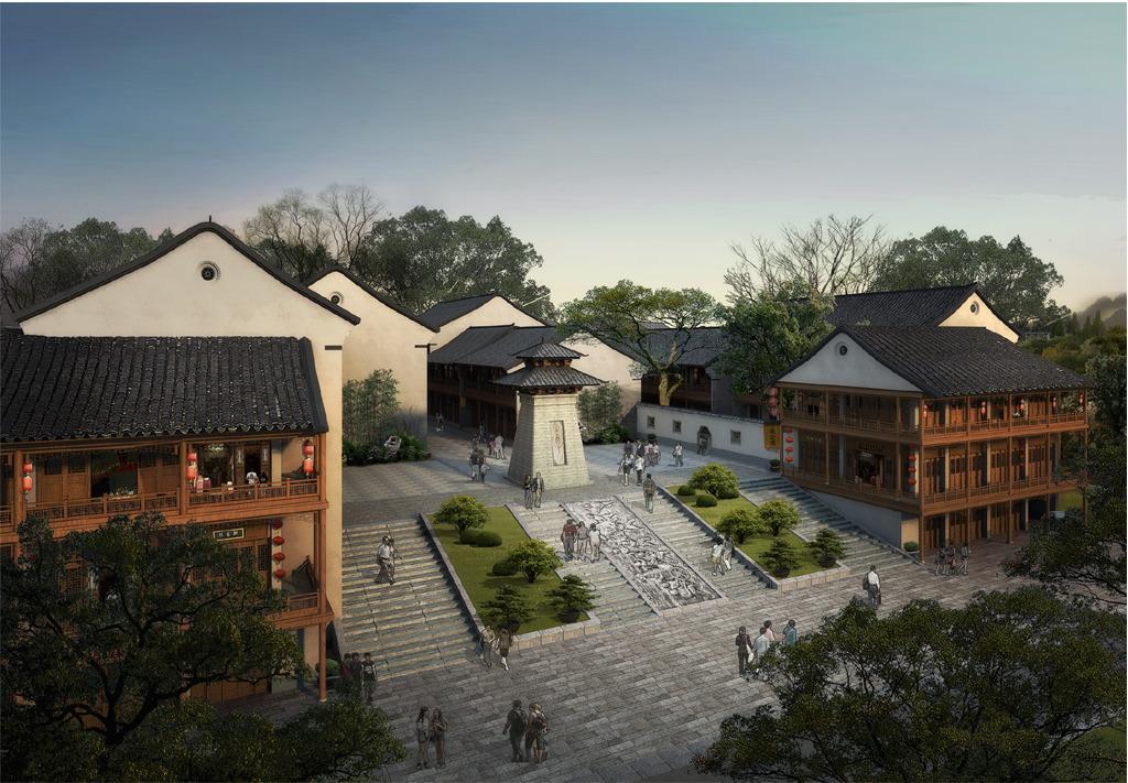 汉阙仿古景区入口园林景观设计效果图
