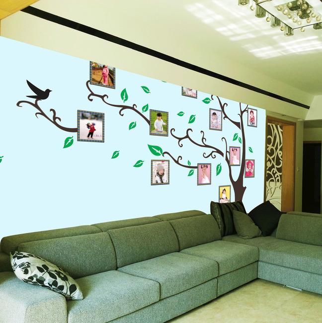 相框树背景墙psd电视背景墙素材模板下载