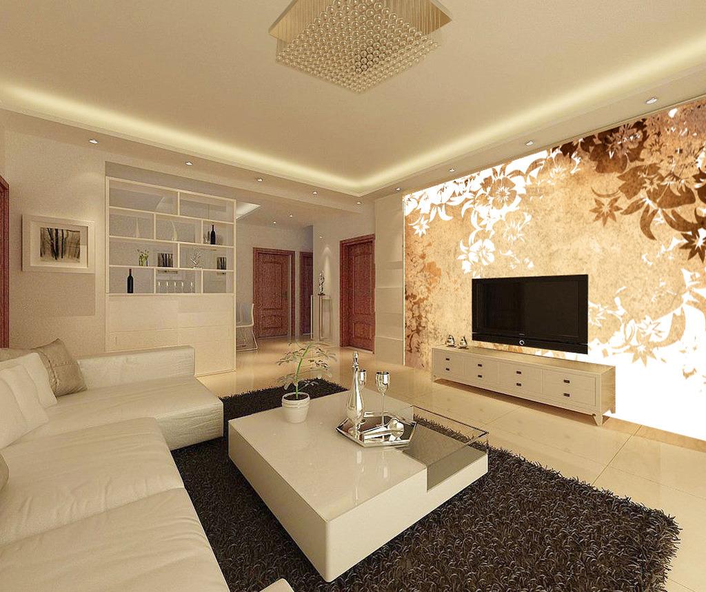 欧花抽象树花纹梦幻花边欧式电视沙发背景墙图片