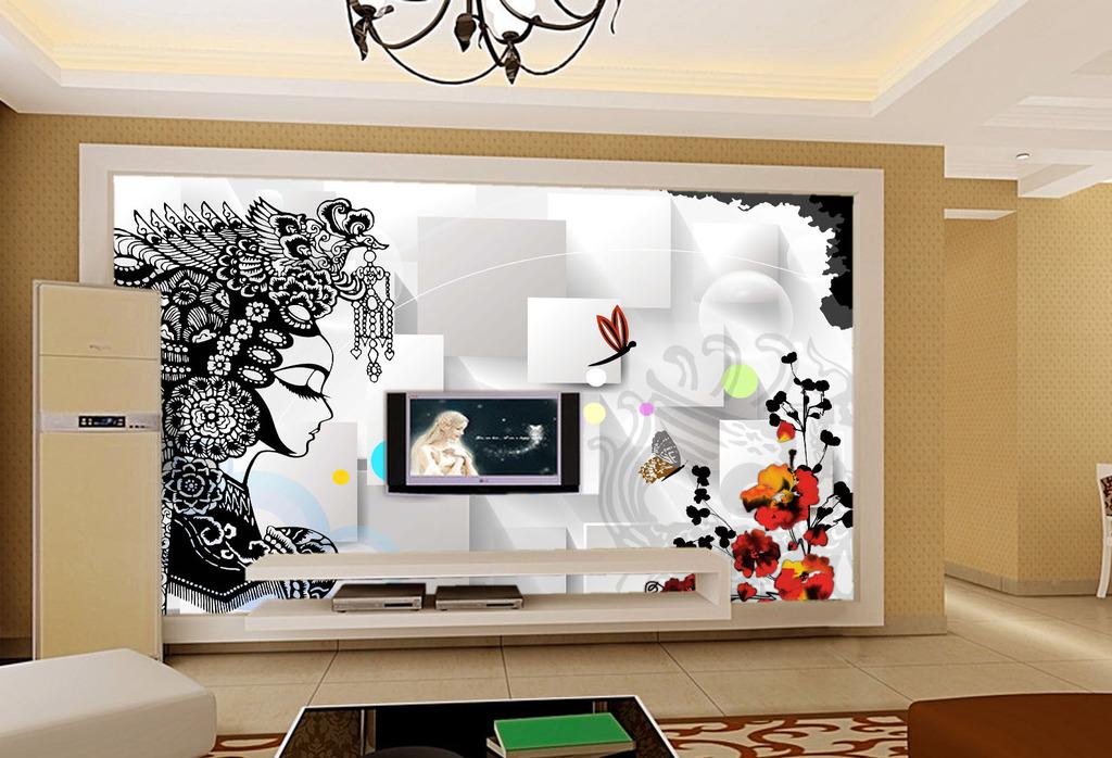 背景墙|装饰画 电视背景墙 电视背景墙 > 戏曲人物3d电视背景墙  编号