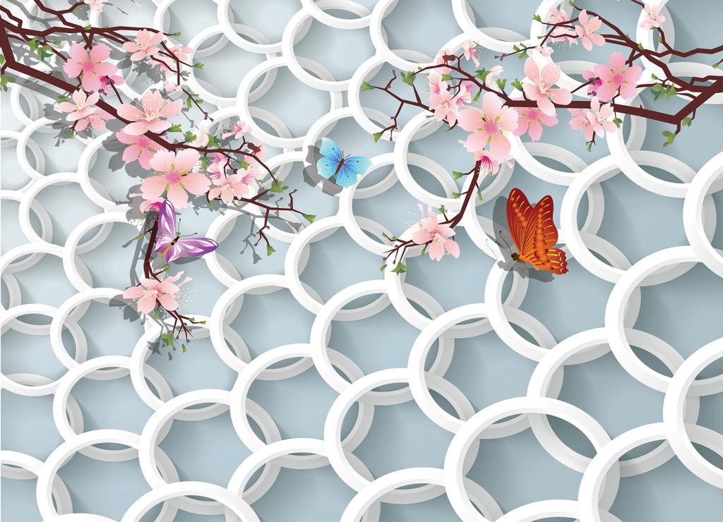 花模板下载 3d环形蝶戏花图片下载