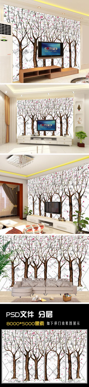 电视背景墙 形象墙 装饰画 壁画 壁纸 墙画 高清 时尚 背景墙 树 手绘