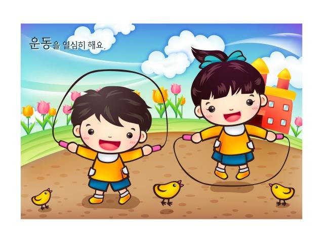小朋友玩跳绳