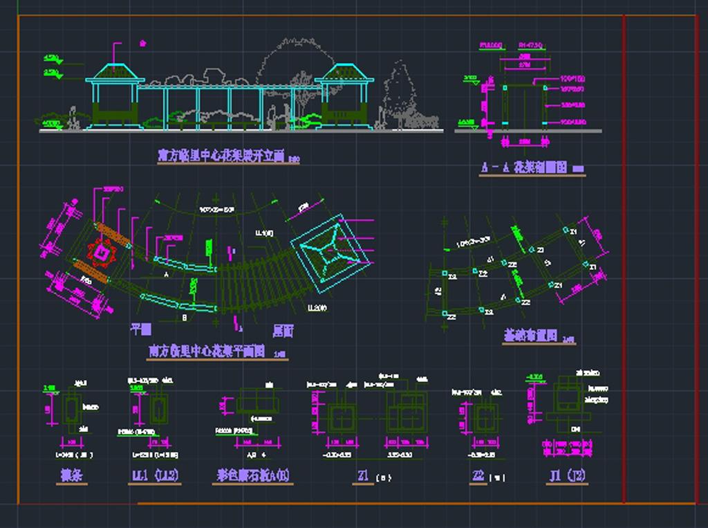室内设计 cad图库 公园景观cad施工图 > 花架cad平立剖面图设计  下一