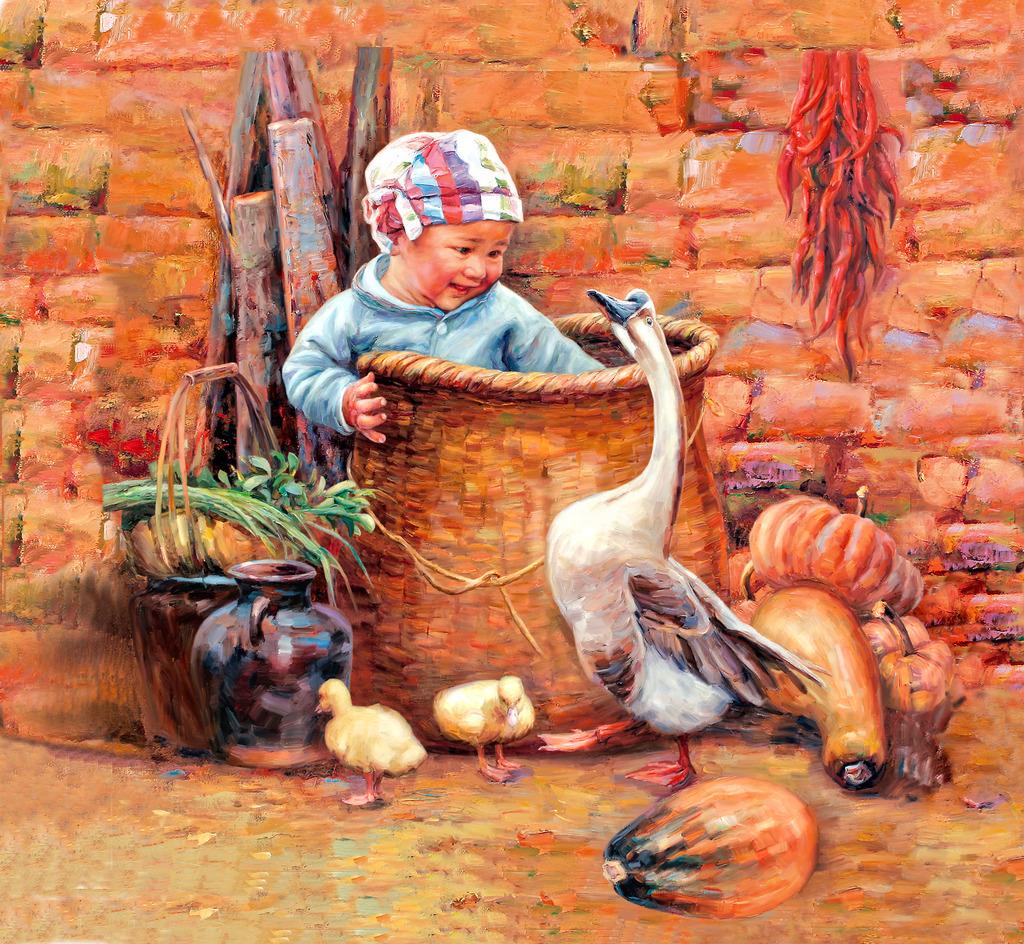 人物 油画人物 油画生活场景 绘画 小孩子 油画小男孩 鹅 南瓜 乡村