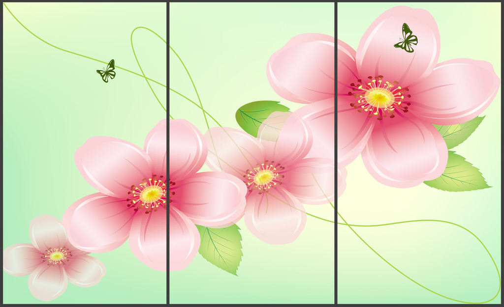 梦幻浪漫花卉花朵移动门图案装饰画图片下载